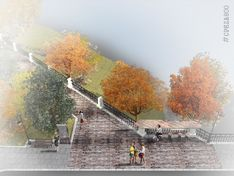 Новый Почаинский бульвар: теневой навес, витражный мостик ивидовые точки